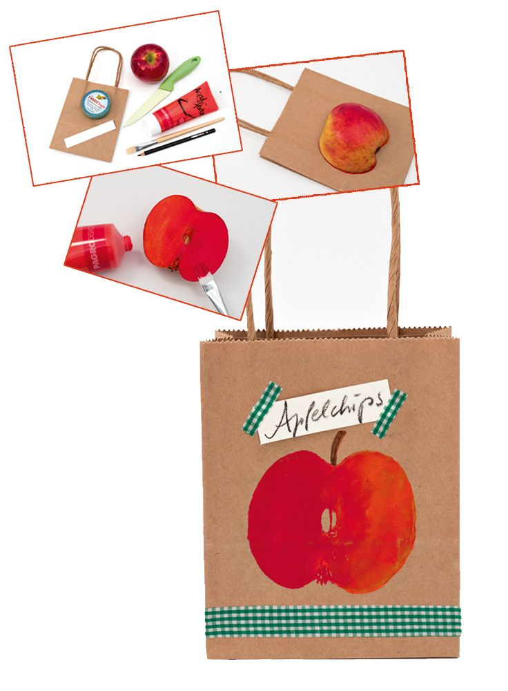 Die Technik ist einfach, die Umsetzung auch! Nehmen Sie einfach ein Papiersackerl, einen Apfel und etwas Acrylfarbe, und schon haben Sie eine tolle Geschenksverpackung!
