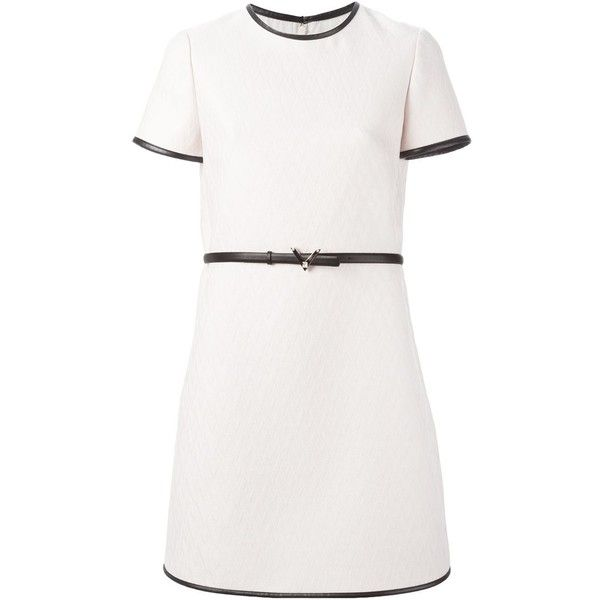 Valentino jacquard a-line dress (82.552.460 VND) ❤ liked on Polyvore featuring dresses, vestidos, white short sleeve dress, white embellished dress, round neck dress, white jacquard dress and valentino dresses