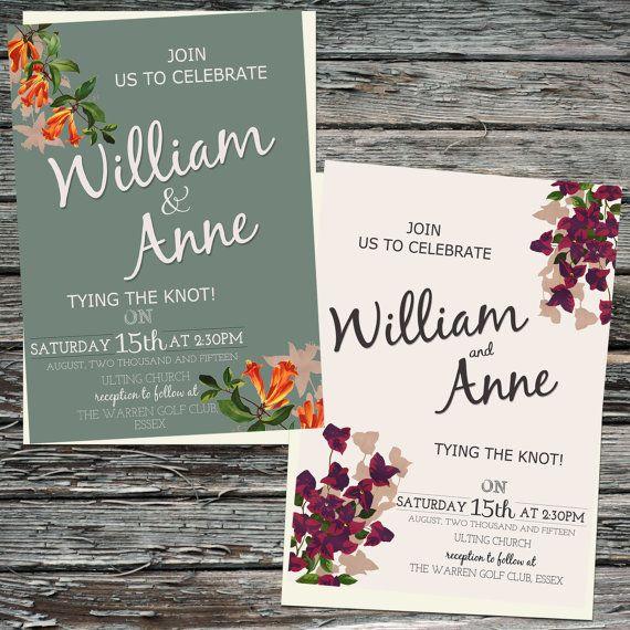 Rustic, Vintage Florals, Printable Wedding Invitation set
