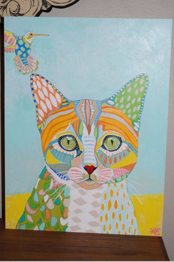Custom Pet Portrait Painting by mateasinkovec on Etsy, $255.00-  LOVE these- bright colors, fun patterns -just beautiful!