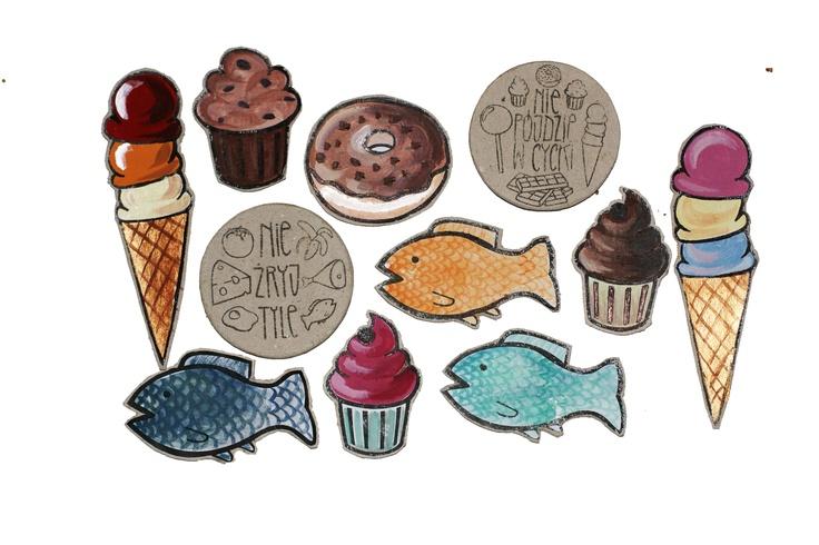 ręcznie malowanie magnesy na lodówkę --- hand-painted magnets for your fridge
