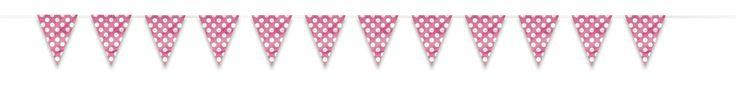Girlanda vlaječková s puntíky růžová - mojeparty.cz - Party produkty, balonky, dekorace a služby pro Vaše party, svatby, oslavy