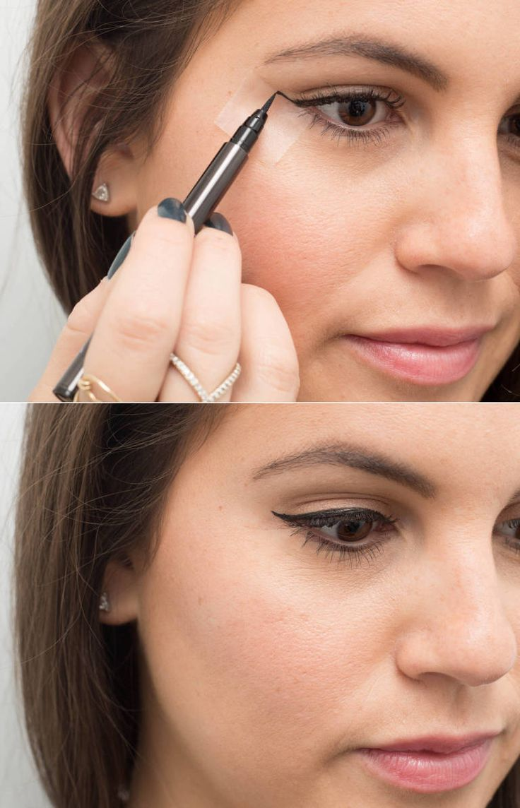 Use clear tape as a no-fail cat-eye guide. Place the edge of the tape in line with your bottom lash line and angle the top toward the end of your eyebrow.