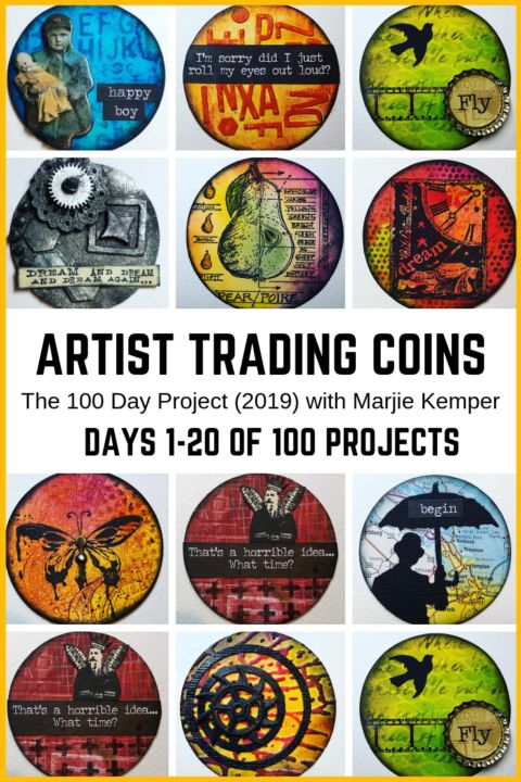 100 Days of Artist Trading Coins, Days 1-20