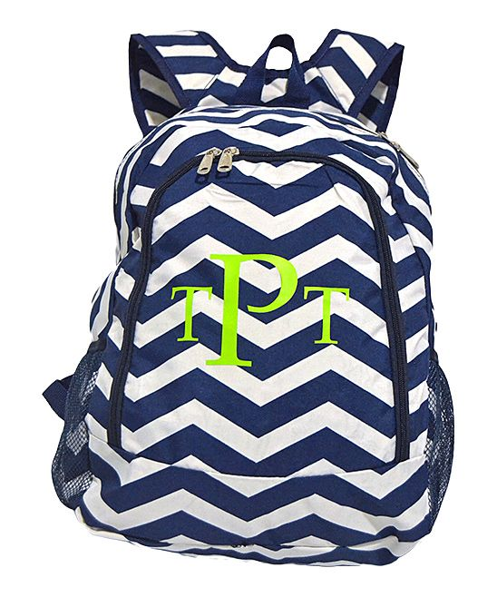 Navy Blue Chevron Monogram Personalized Backpack