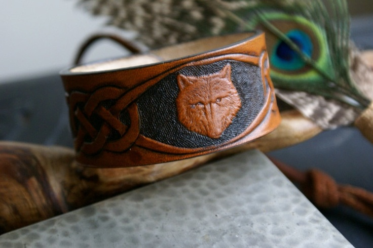 Leather Wristband-Wolf Celtic Leather Wristband-Celtic Knot Work Wristband-Mens Leather Wristbands-Wolf Leather Wristbands Wolf. $23.00, via Etsy.
