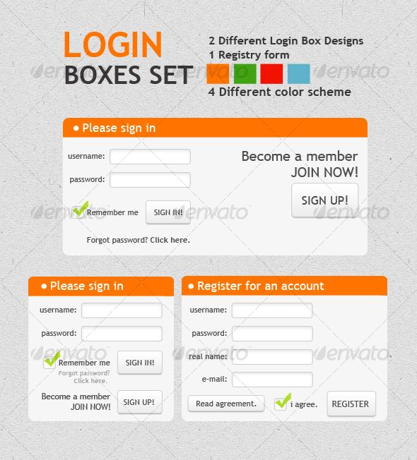 LOGIN BOXES SET - #Forms Web #Elements Download here   - vacation request form