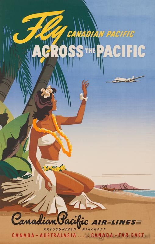 Canadian Pacific Airlines vintage travel ad  Island Girl on Beach