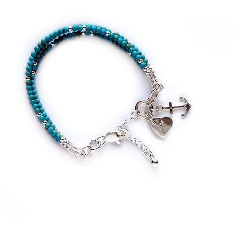 Hearts and Anchors. FLORO Grace Turquoise. Find it at www.floro.ca