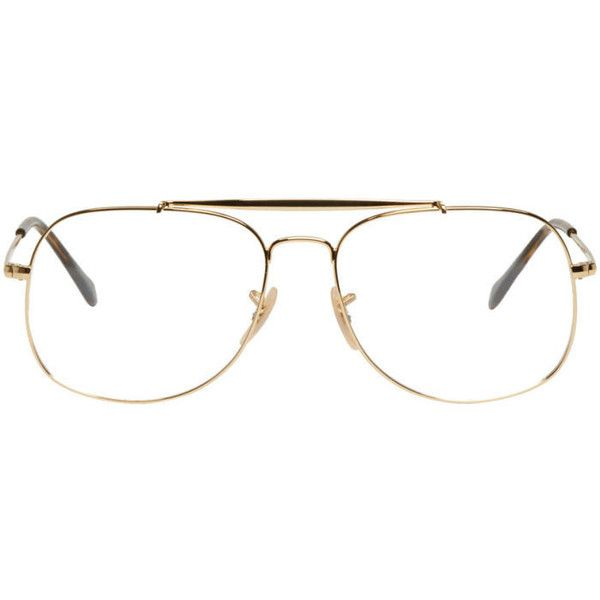 Ray-Ban Gold The General Aviator Glasses ($155) ❤ liked on Polyvore featuring men's fashion, men's accessories, men's eyewear, men's sunglasses, gold, mens square aviator sunglasses, mens gold sunglasses, mens square sunglasses, mens tortoise shell sunglasses and ray ban mens sunglasses