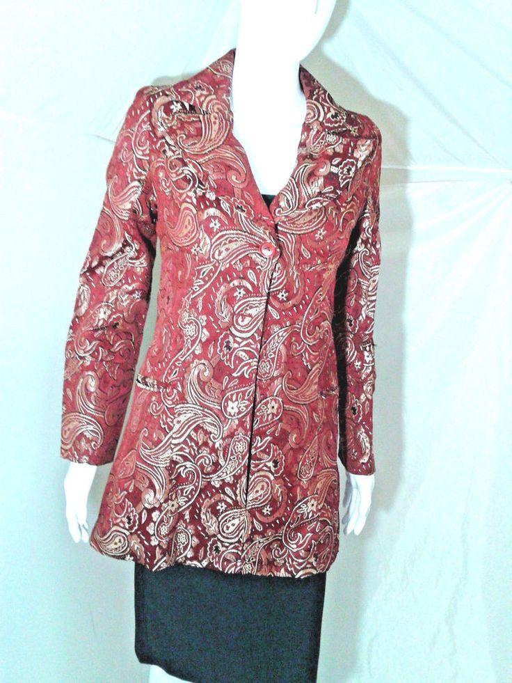 Wet Seal Womens Small Tapestry Jacket Dark Red Paiseley Details #WetSeal #BasicJacket