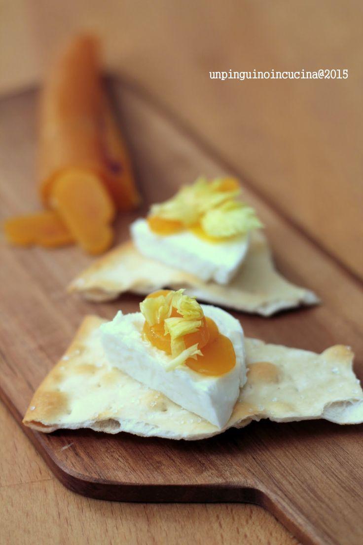 Finger Food with Buffalo Mozzarella and Bottarga - Crostini con bufala, bottarga e foglioline di sedano