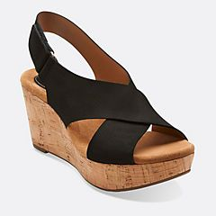 clarks artisan caslynn lizzie leather wedge sandals with backstrap