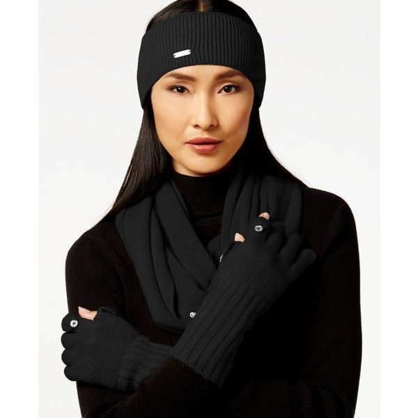 Calvin Klein Basic Loop Scarf Headband & Glove Set ($78) ❤ liked on Polyvore featuring accessories, hair accessories, black, black headwrap, black hair accessories, head wrap hair accessories, hair band headband and head wrap headband