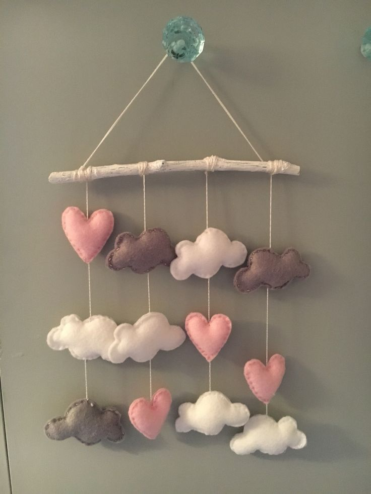 Felt mobile. Hearts and clouds. Pink, grey, white.  Clouds of love – Being MumMe https://beingmumme.com/2016/05/09/clouds-of-love