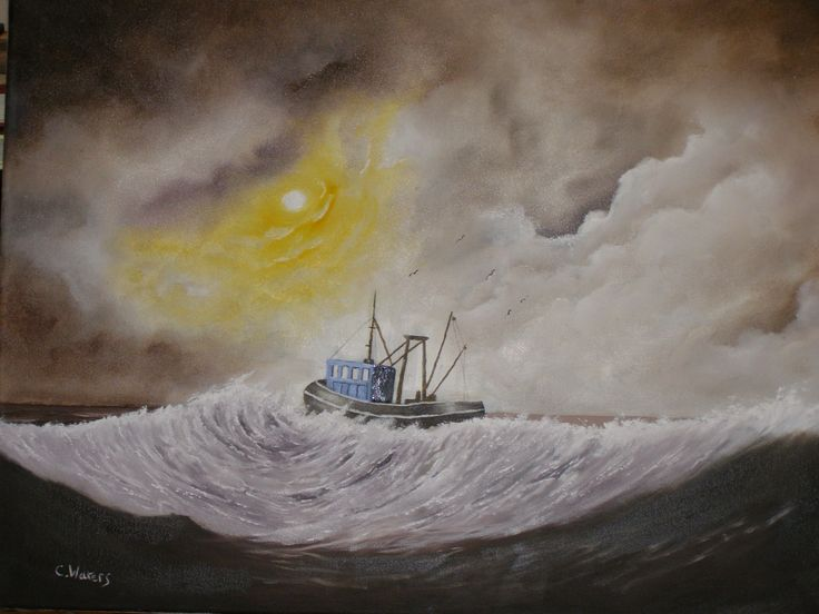 Seascape oil painting by c walters