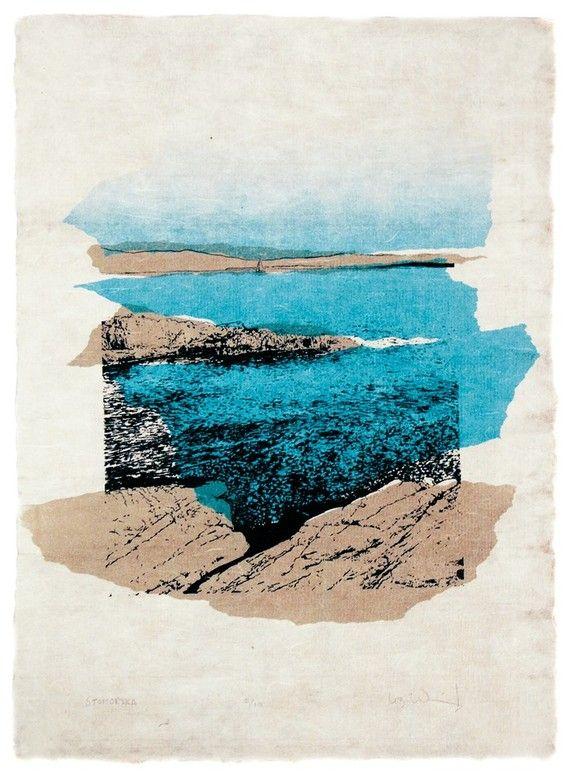 Stomorska  beach sea scene limited edition silkscreen print by LessThanThreePrints, $65.00