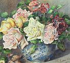 Vintage Home online shop - paintings Page 1 : Beautiful Edwardian Roses Watercolour, Violets in Glass Bowl Painting after Klein, Victorian Basket of Roses Oil Painting, 1930s Kittens at Play Print, Scarlet and Gold Roses Victorian Oil Painting and 1940s Floral Bouquet Oil Painting.