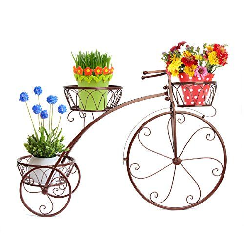 Dazone Exquisite Balcony Bike Plant Pot Tray Bronze -- You can get more details by clicking on the image.