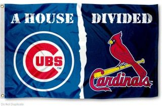 Cubs vs Cardinals House Divided Flag sizes at 3x5 feet, is made of 100% polyester, has quadruple-stitched fly ends, and the MLB Team logos...