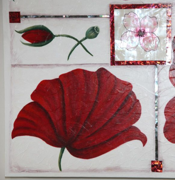 Poppy Painting using mother of pearl on insert