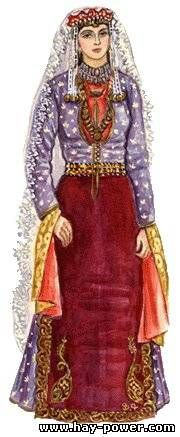 Traditional Armenian costume from Kars. Late 19th century.