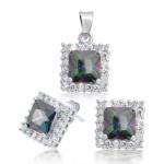 .925 Silver CZ Diamond Pave Rainbow Topaz Jewelry Set Pendant Earrings - $54.99