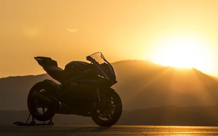 Download wallpapers Yamaha YZF-R6, 4k, sunset, 2018 bikes, superbikes, Yamaha