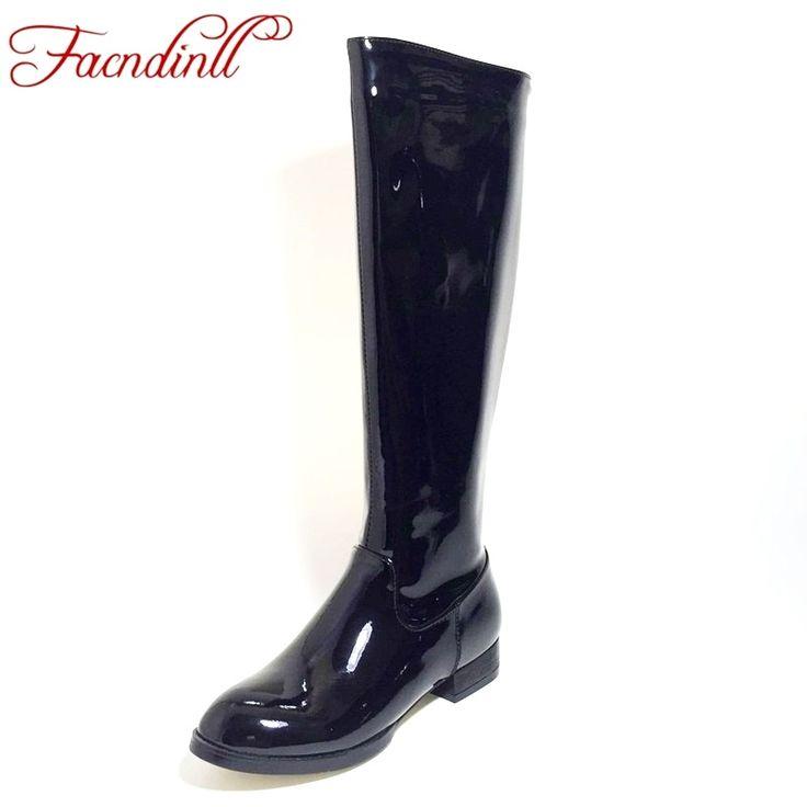 Facndinll новые модные туфли из лакированной кожи женская обувь на осень зиму утепленные сапоги выше колена высокие сапоги на низком каблуке черного цвета на молнии женские ботинки для верховой езды 34 43 купить на AliExpress