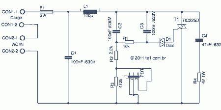 dimmer triac tic controle iluminacao Dimmer com triac tic225, controle de potência em cargas iluminacao led fontes circuito controle circuito circuito