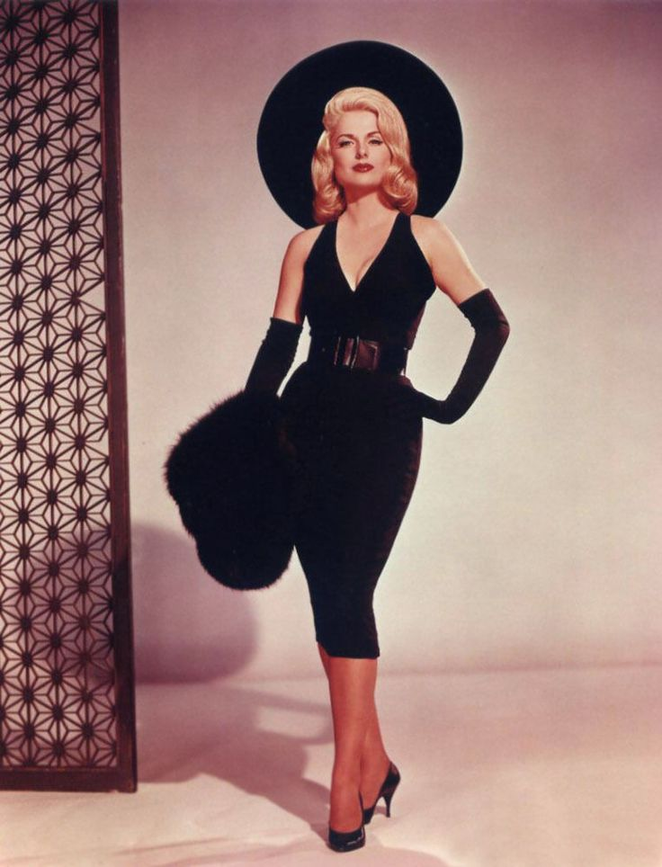 Martha Hyer 50s bombshell color photo print ad women's fashion vintage style black dress long gloves shoes hat fur wiggle sheath Frederick's of Hollywood type pin up showgirl