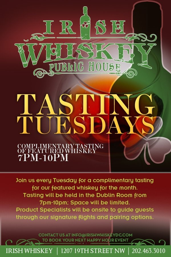 Come to Irish Whiskey Public House every Tuesday for a complimentary Irish whiskey tasting! Month of April, try Concannon!