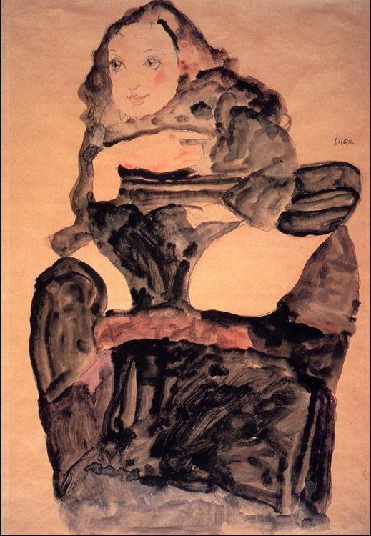 Egon Schiele, Ragazza seduta con la gamba sinistra sollevata, 1911.