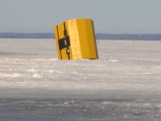 Ice fishing in Lefroy, ON - hopefully nobody was inside this shed when it turned over