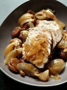 Recette Rôti de veau aux marrons et échalotes