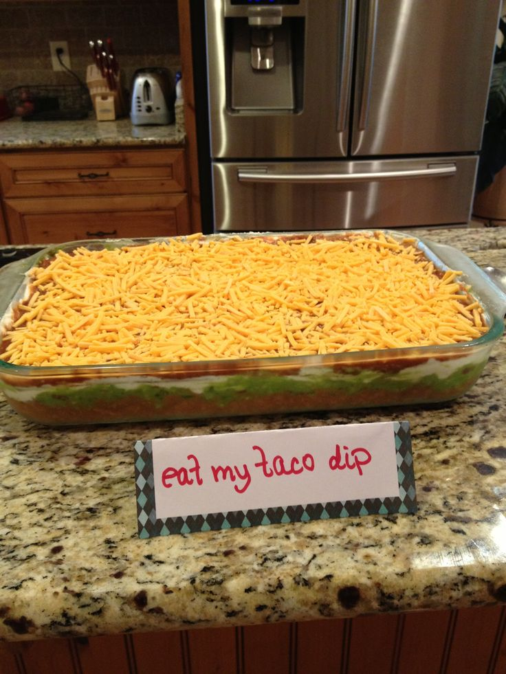 Passion party themed food. (Eat my taco dip)