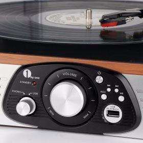 Platine Vinyle 1byone Transportable Immitation Bois,3 Vitesses Avec Enceinte Interne, prise USB pour MP3, AUX In et prise RCA. de 1Byone