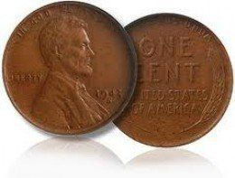 The 1943 copper penny is a very valuable coin. All coins in 1943 were made out of steel because of World War II. A few copper pennies were accidently produced and a rare coin was born.