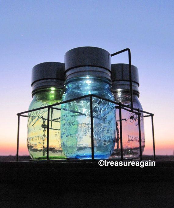 Patio Mason Jar Solar Light Caddy with Color Choice http://etsy.me/18lhUFG
