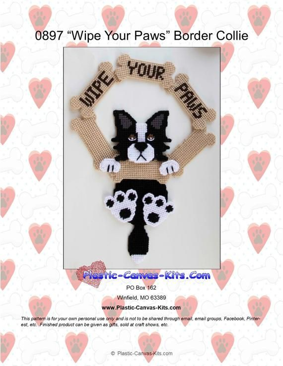 Chihuahua Dog-Wipe our Paws Wreath Plastic Canvas Pattern or Kit