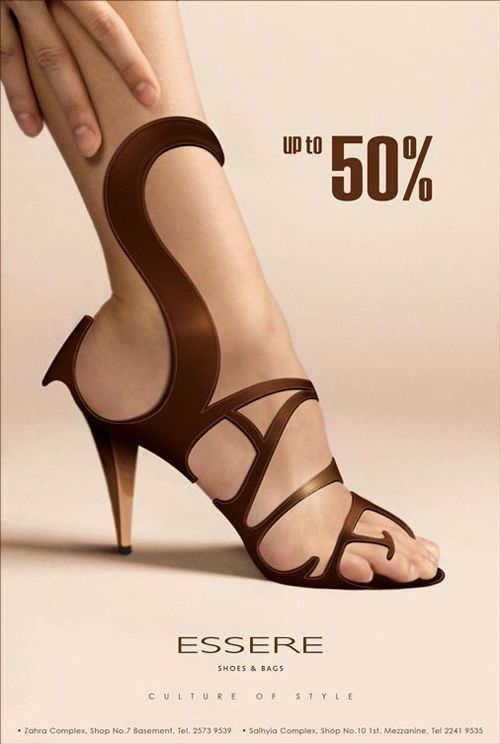 This ad utilizes typography in the form of a word being positioned as a shoe advertising a shoe sale. It captures attention and makes a clear point. http://www.noupe.com/how-tos/creative-and-effective-ad-designs.html