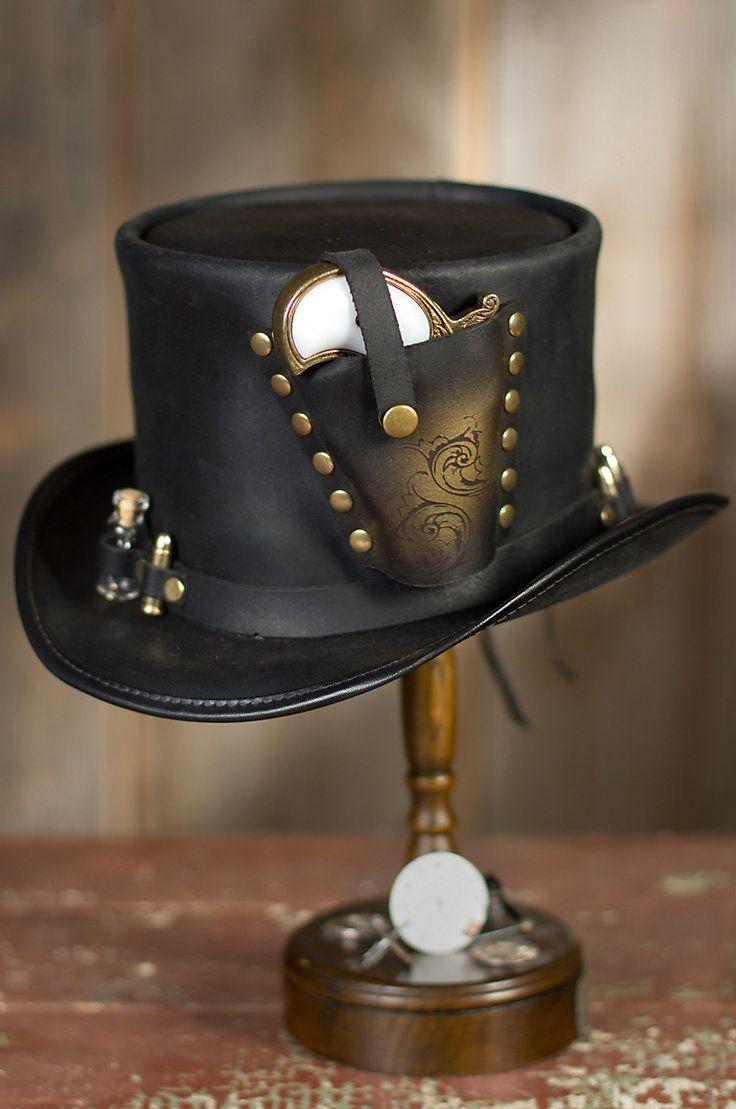 Steampunk Derringer Leather Top Hat