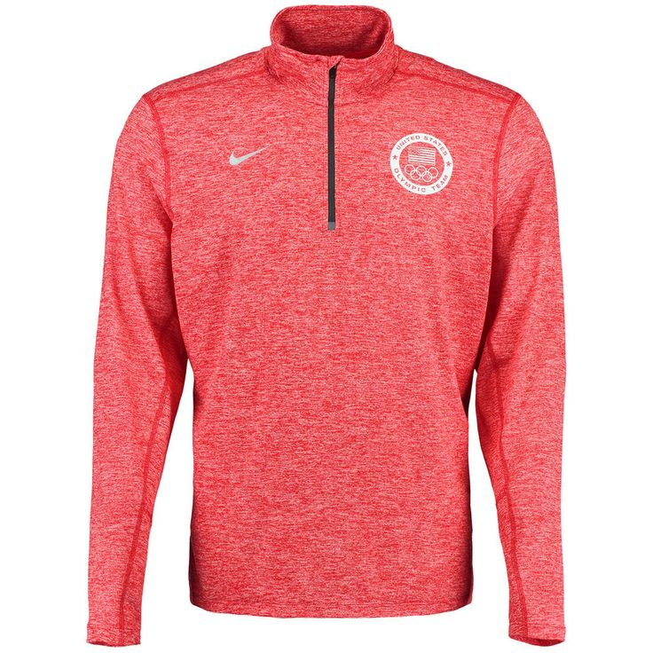 Men\u0027s Nike Red Team USA 1/4 Zip Heathered Performance Pullover Jacket