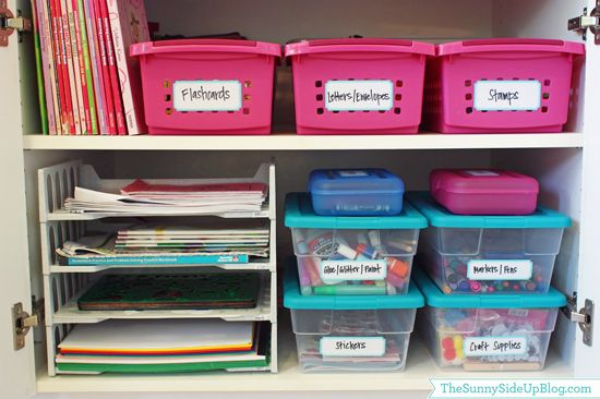 combination of bins/baskets/trays to organize kids crafting supplies, paper, coloring books...