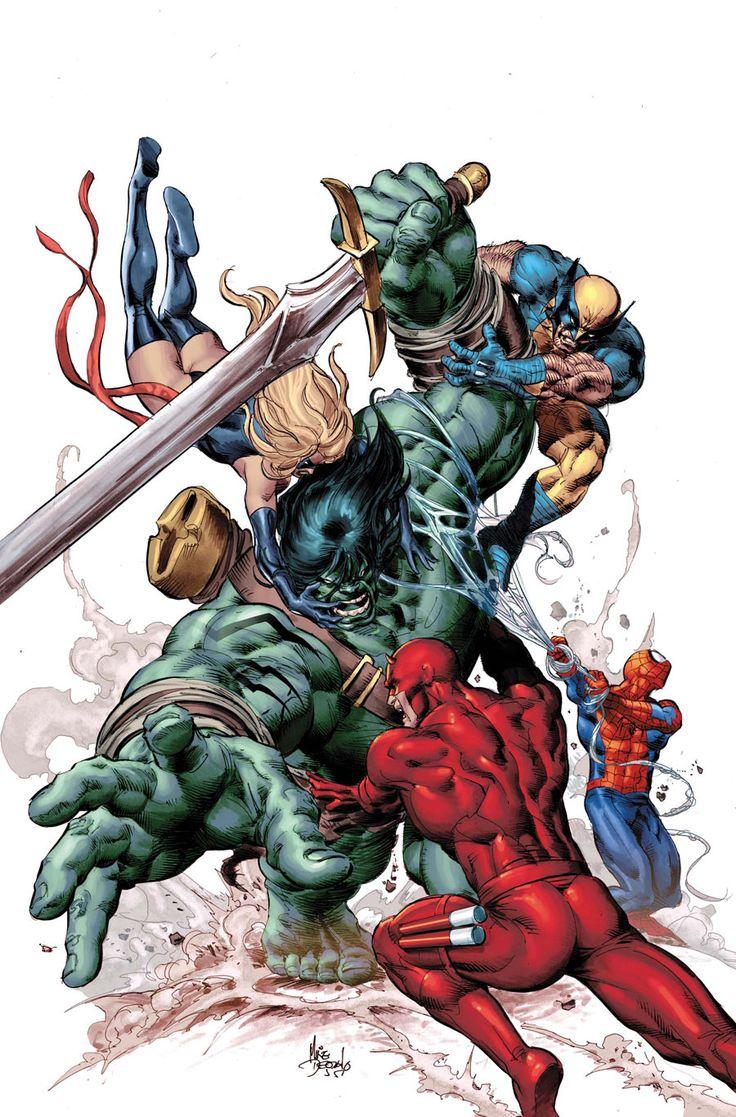 New Avengers vs. Skaar ~ art by Mike Deodato Jr.