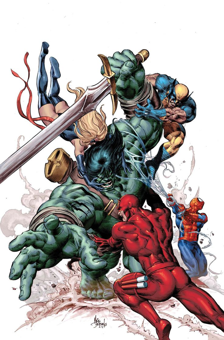 New Avengers vs. Skaar ~ art by Mike Deodato Jr.