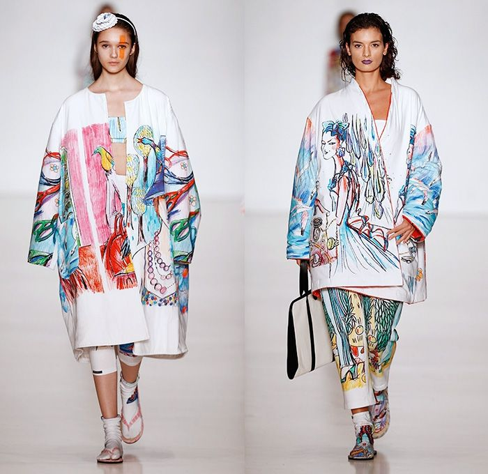 Tatyana Parfionova 2014 Spring Summer Womens Runway Collection - Mercedes-Benz Fashion Week Russia Moscow - Artwork Illustrations Colored Pe...