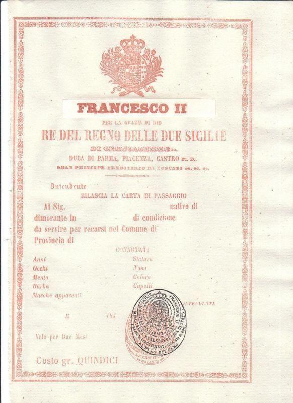 #Italia 016 regno delle due sicilie francesco ii carta di passaggio del 1850 60,00 € http://www.botticellisport.it/?df=231336946845&pid=12 #Marketitaliano.it #ITA