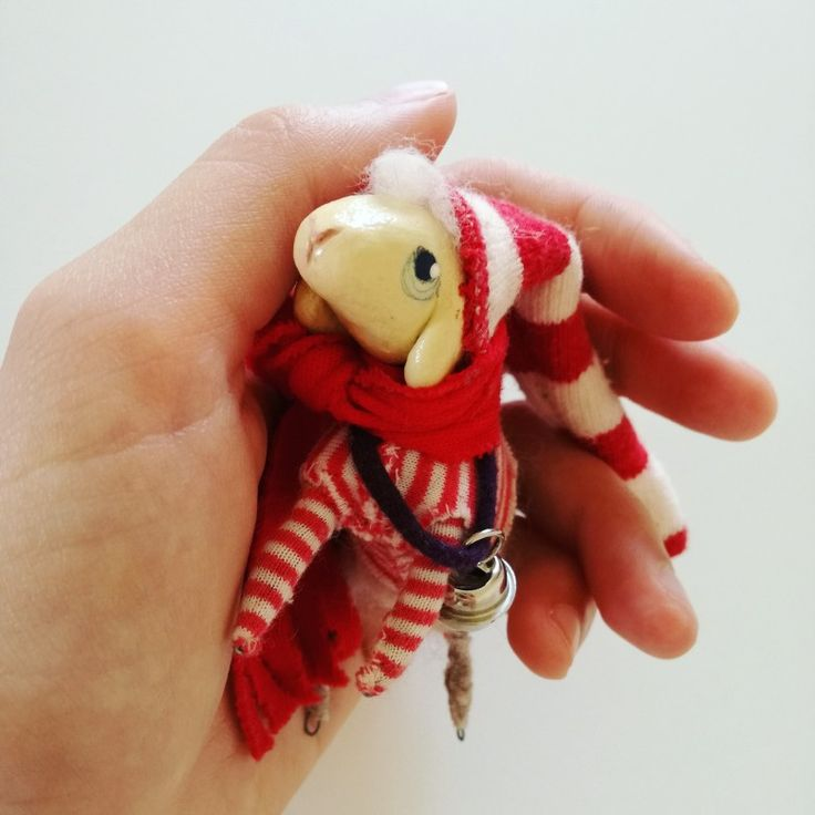 Red-white. Sheep. Handmade. Gift. Talisman. Bobek. By Viera Čechová