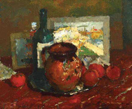 Adam Bălțatu - Natură statică cu oală roșie și mere